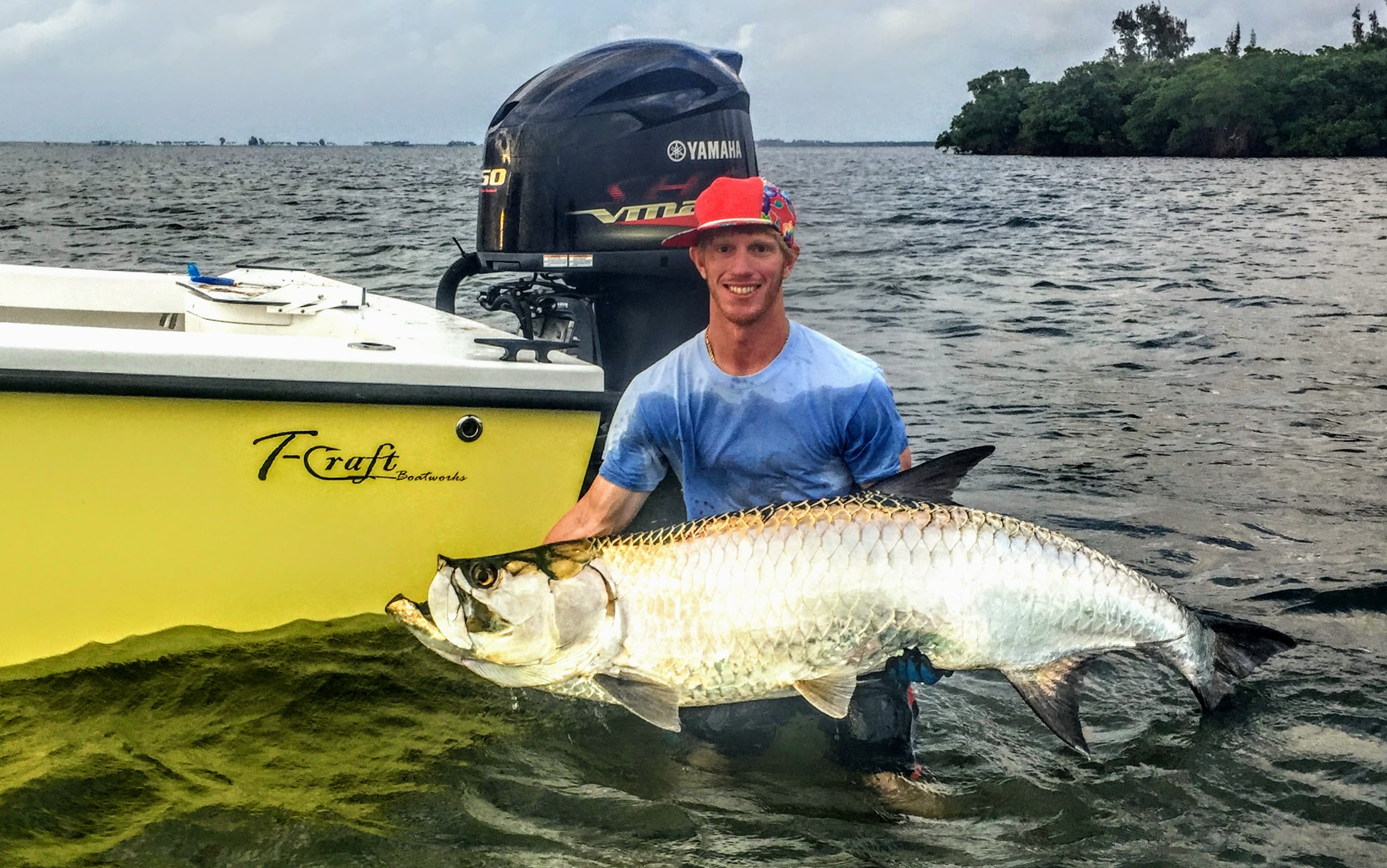 Captain Brian Peacock with massive tarpon